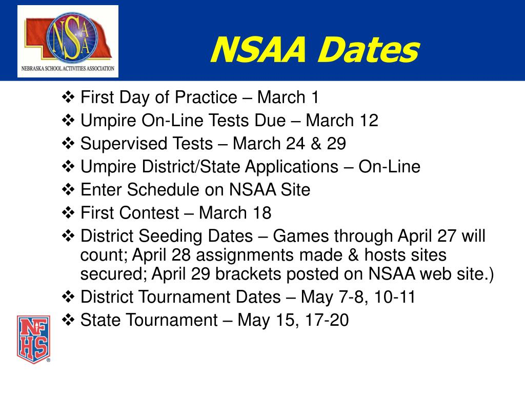 NSAA Dates