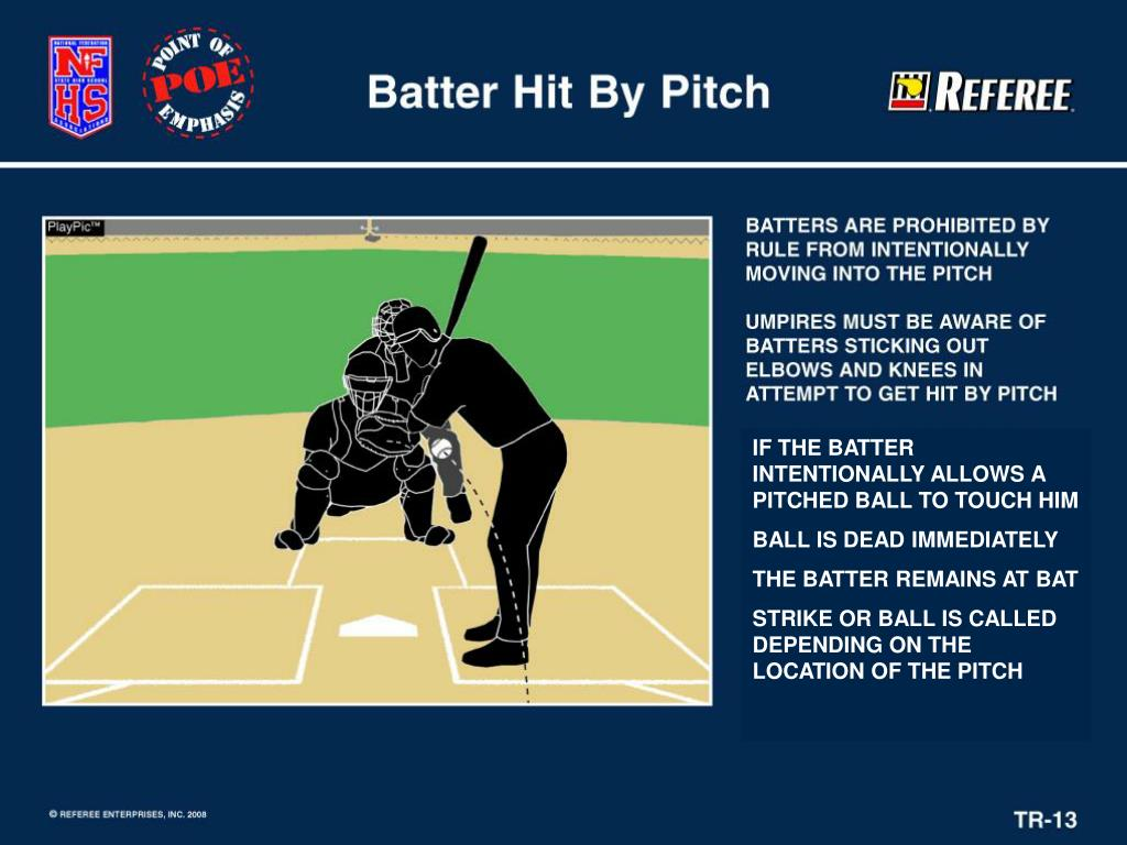 IF THE BATTER INTENTIONALLY ALLOWS A PITCHED BALL TO TOUCH HIM