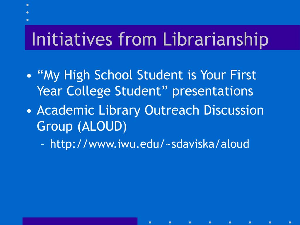 Initiatives from Librarianship
