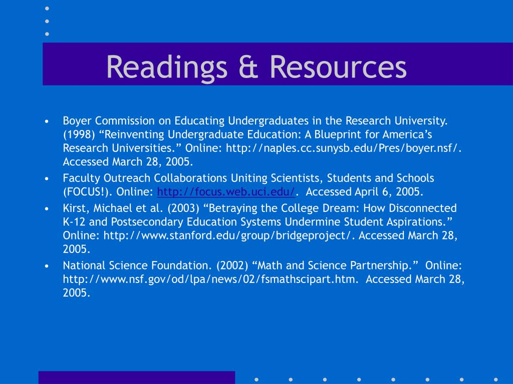 Readings & Resources