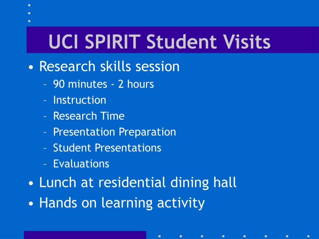 UCI SPIRIT Student Visits
