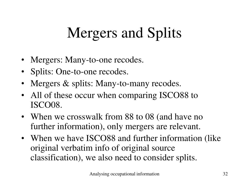 Mergers and Splits
