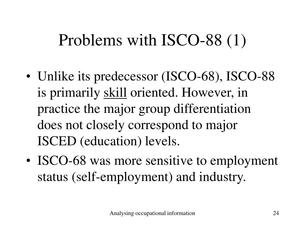 Problems with ISCO-88 (1)