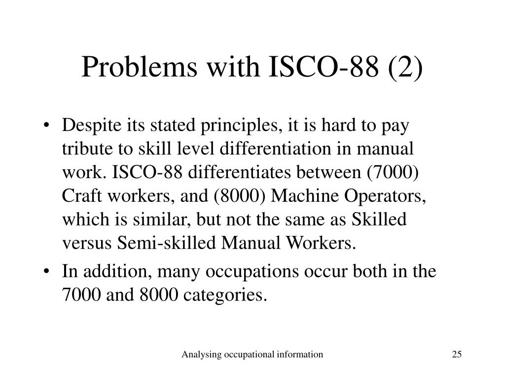 Problems with ISCO-88 (2)