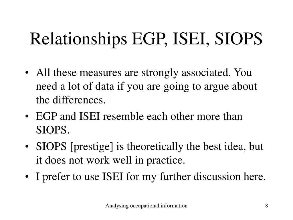 Relationships EGP, ISEI, SIOPS