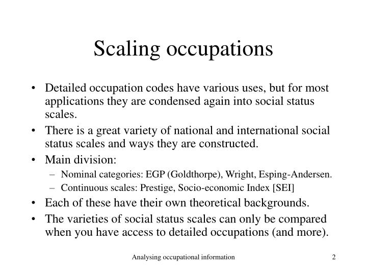 Scaling occupations