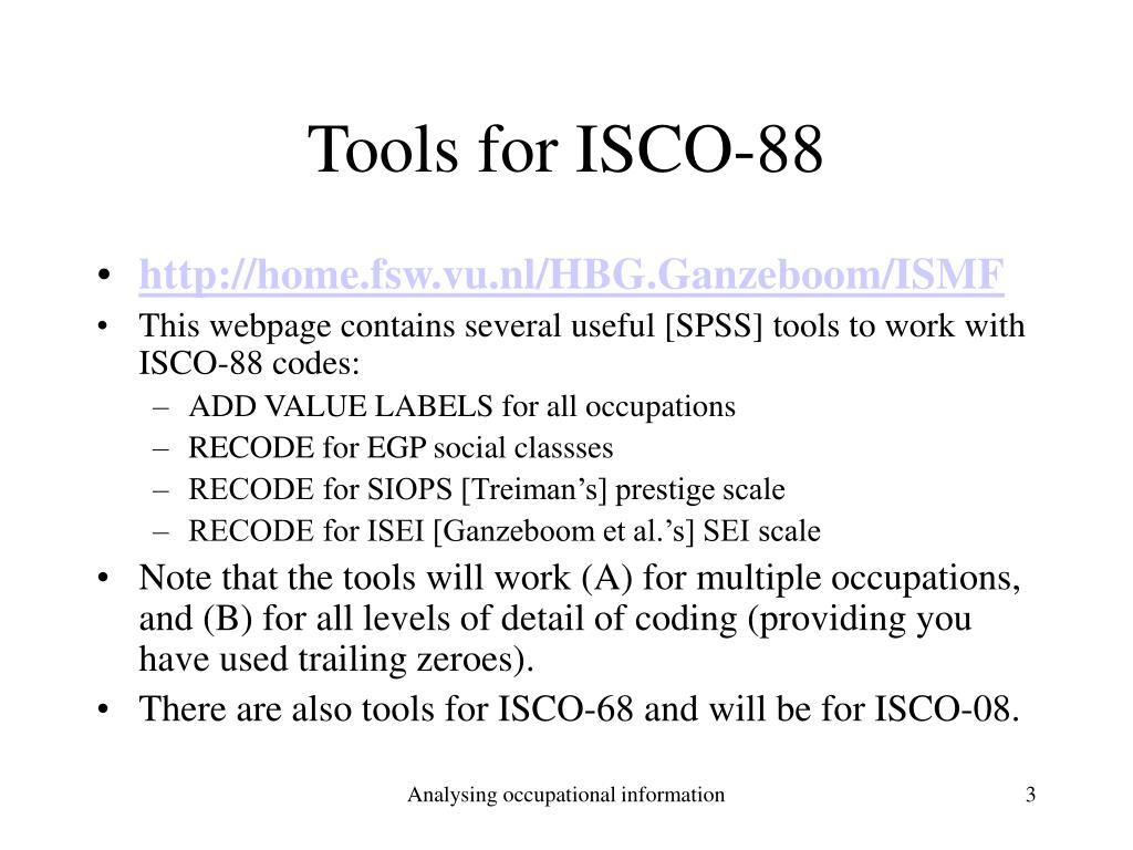 Tools for ISCO-88