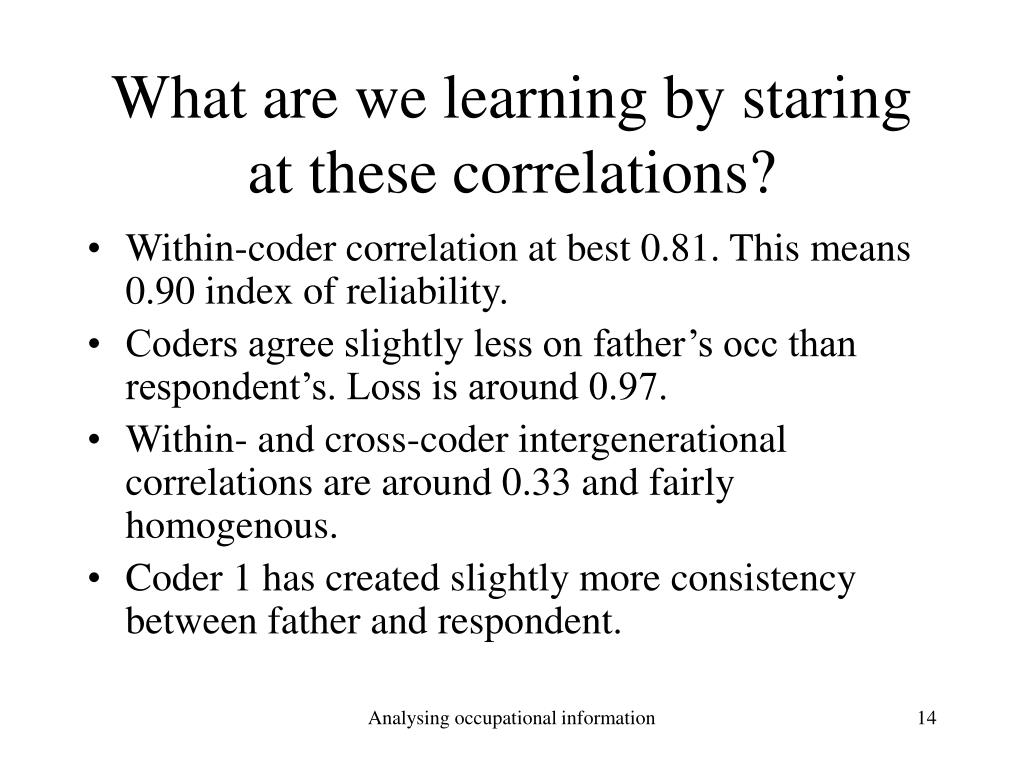 What are we learning by staring at these correlations?