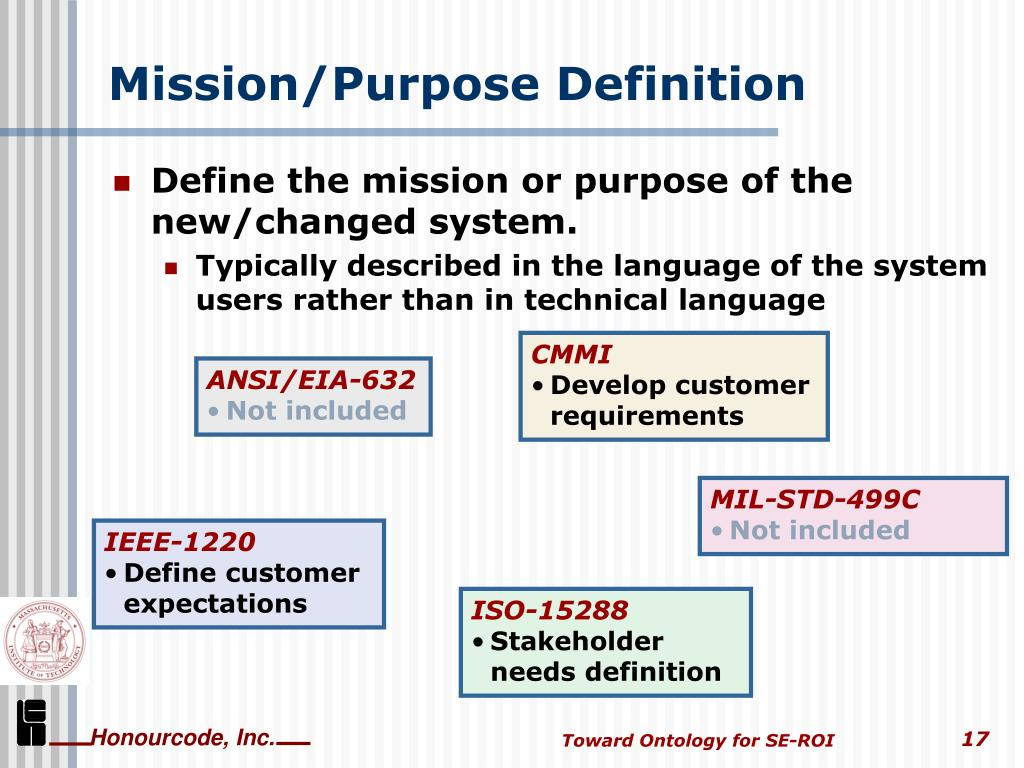 Mission/Purpose Definition