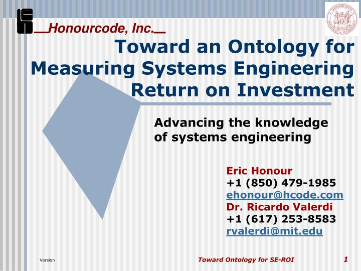 Toward an ontology for measuring systems engineering return on investment l.jpg