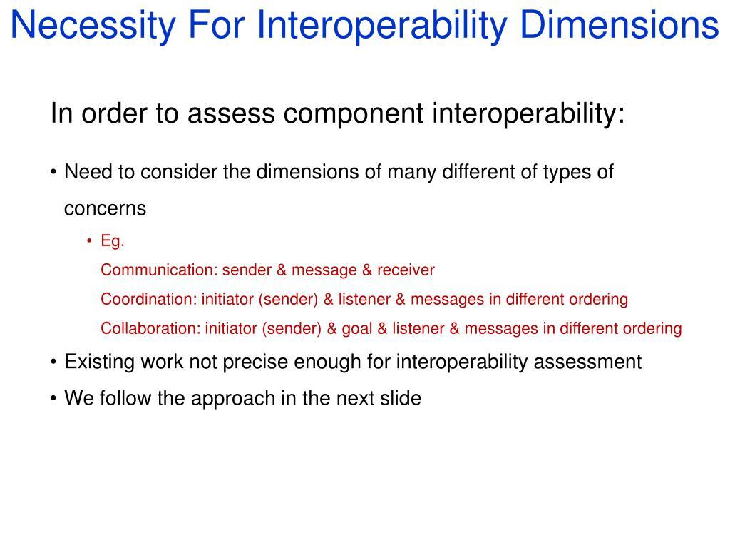 Necessity For Interoperability Dimensions