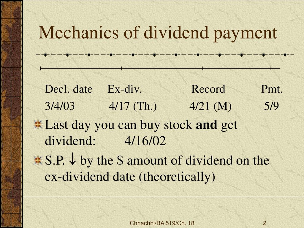 Mechanics of dividend payment