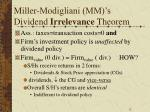 miller modigliani mm s dividend irrelevance theorem