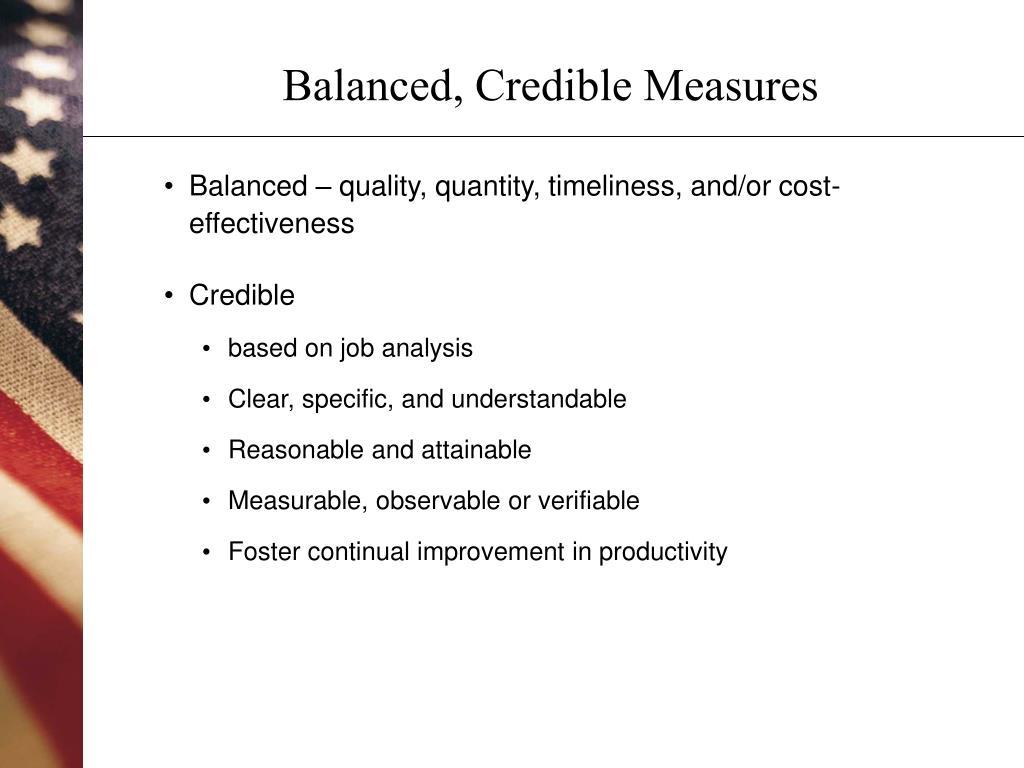 Balanced, Credible Measures