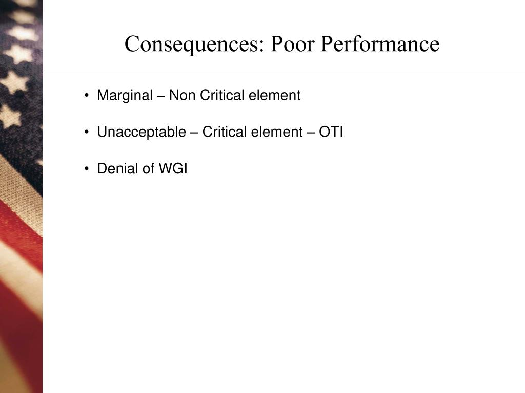 Consequences: Poor Performance