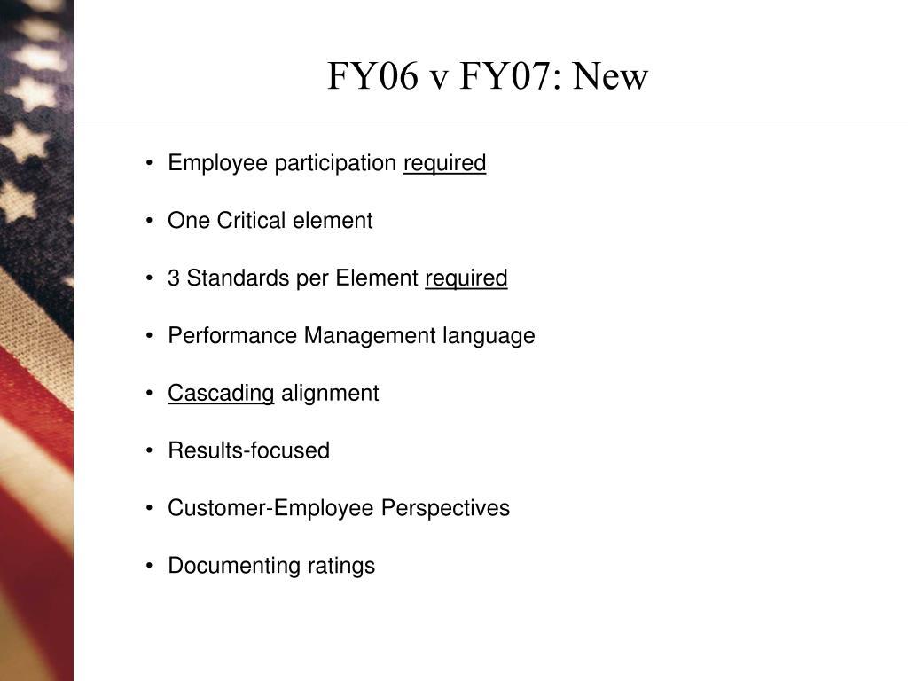FY06 v FY07: New