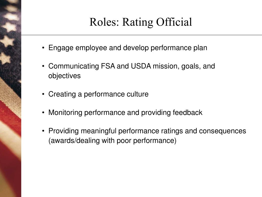 Roles: Rating Official