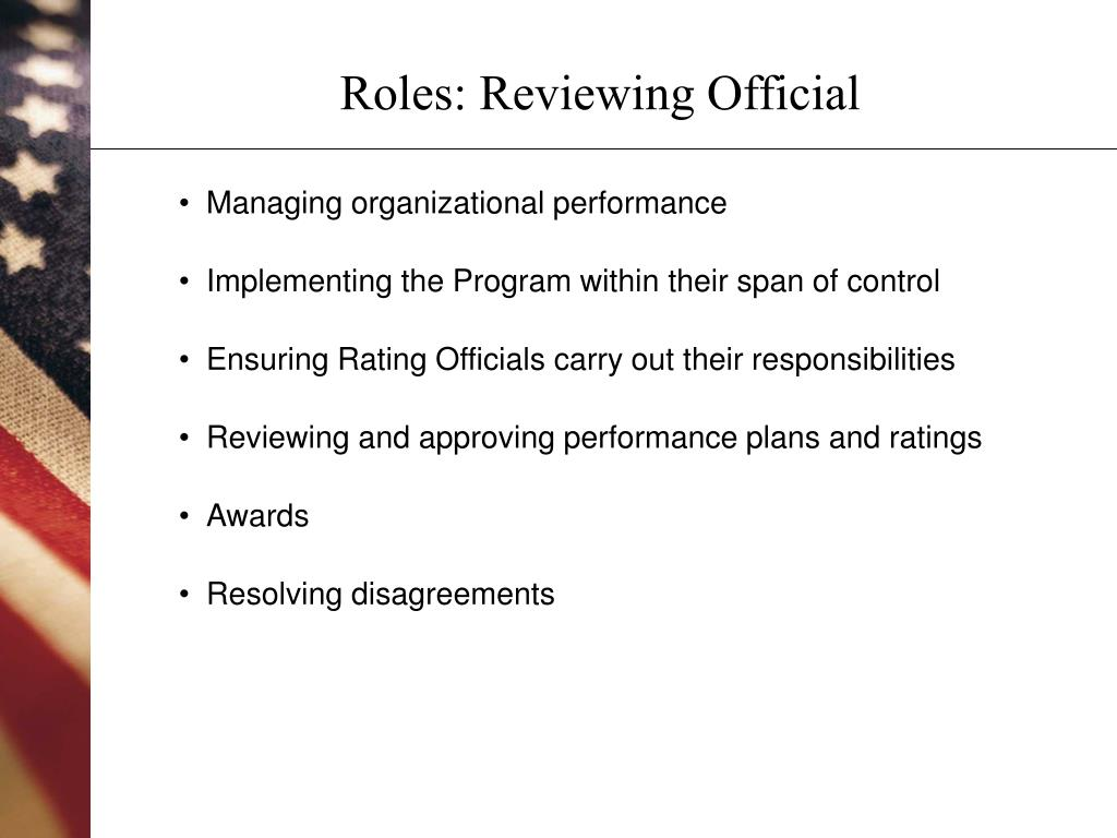 Roles: Reviewing Official