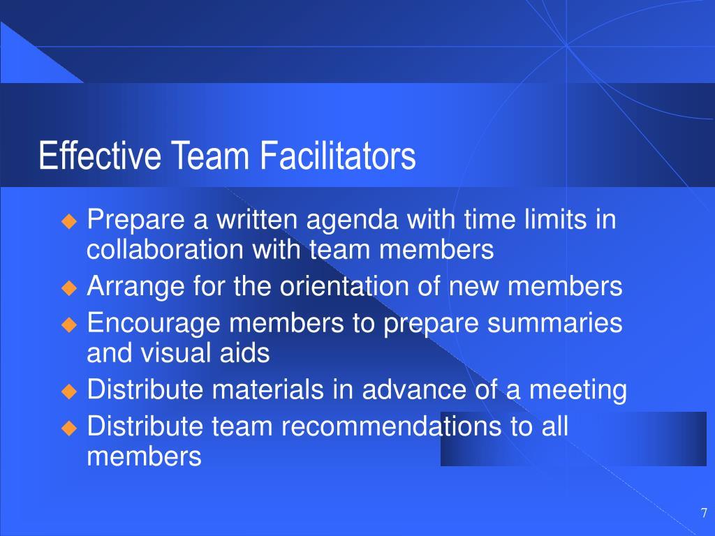 Effective Team Facilitators