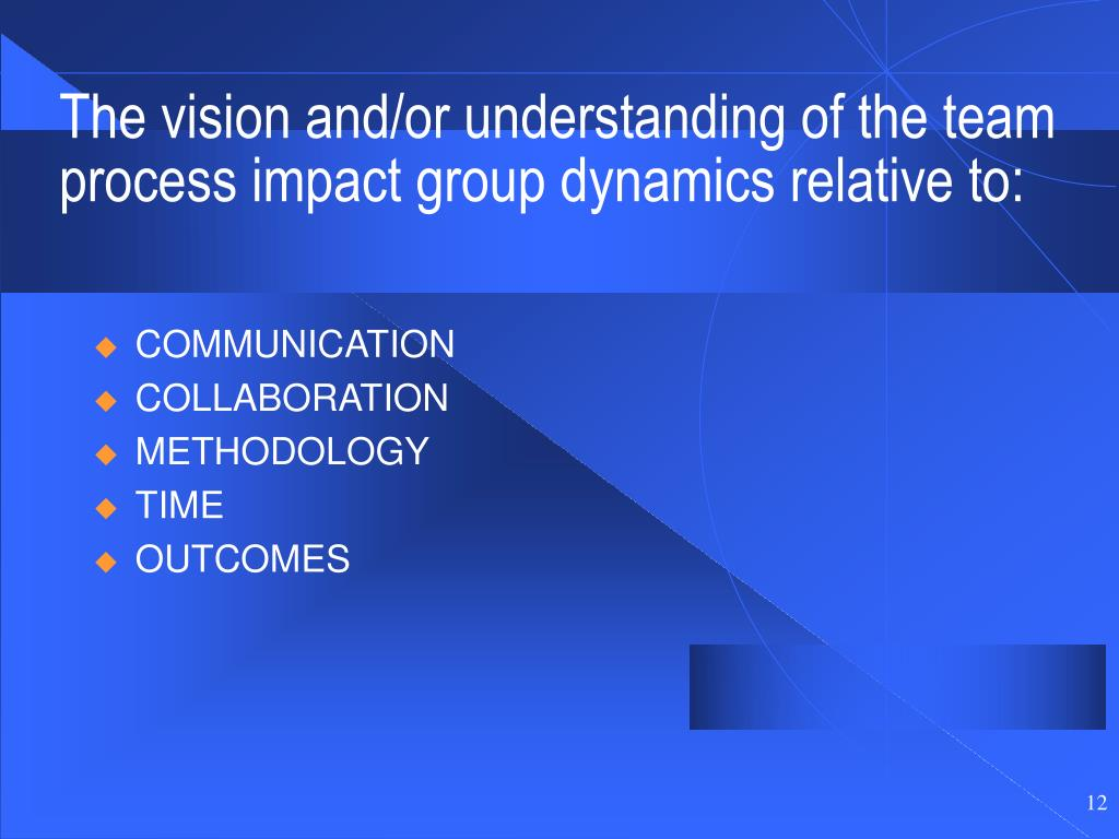 The vision and/or understanding of the team process impact group dynamics relative to: