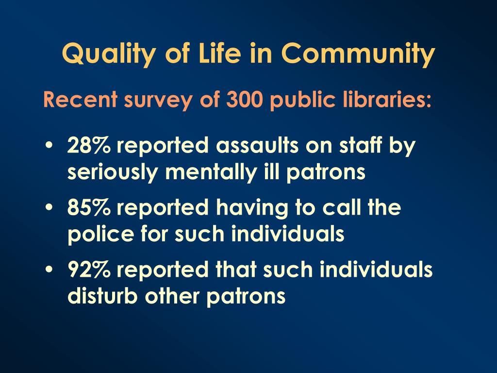 Recent survey of 300 public libraries: