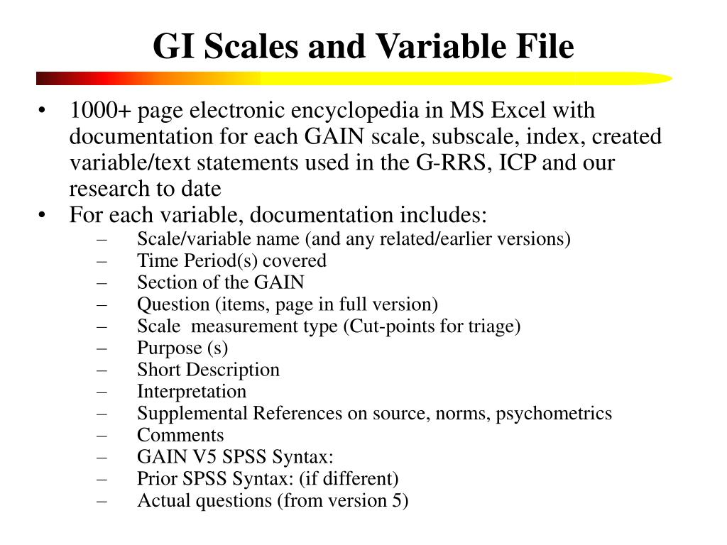 GI Scales and Variable File