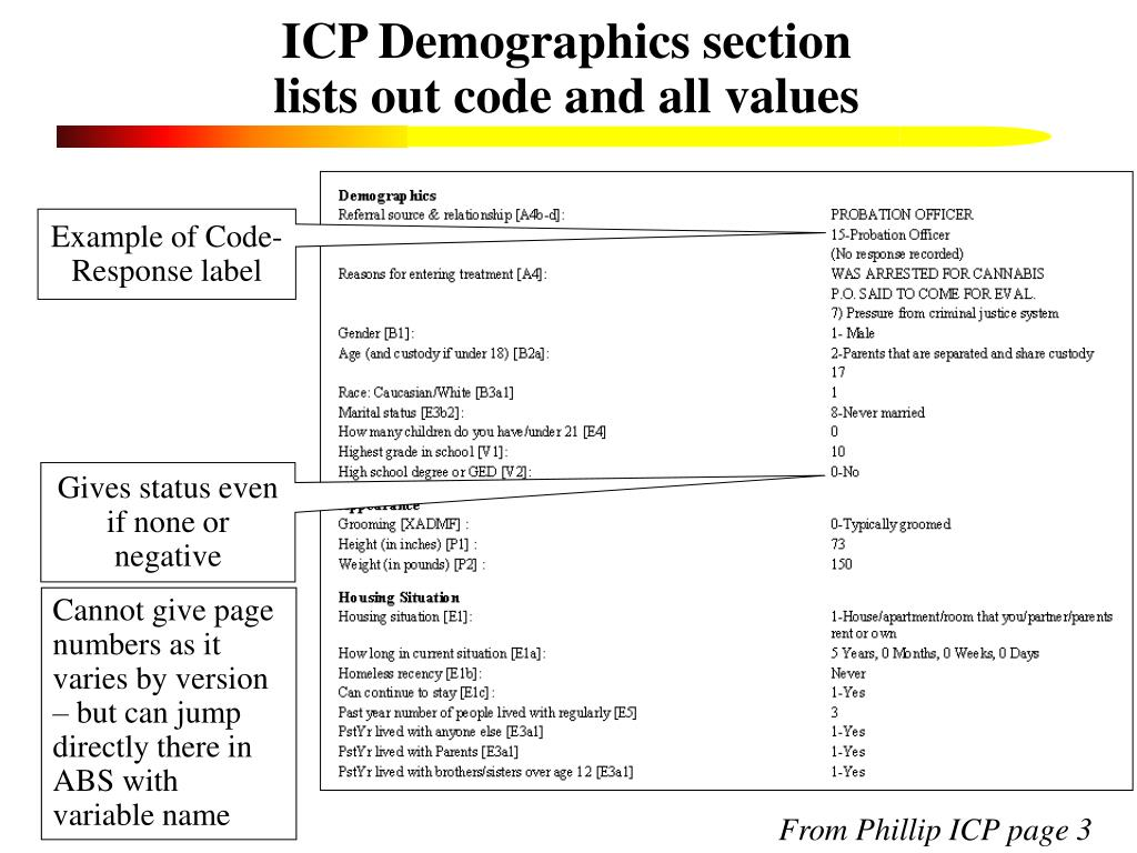 ICP Demographics section