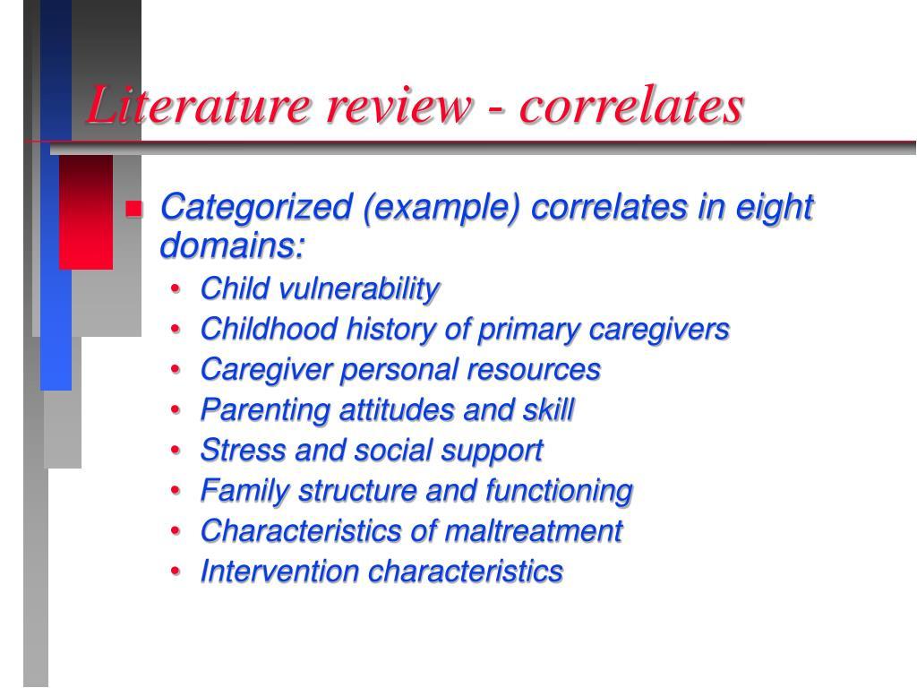 Literature review - correlates
