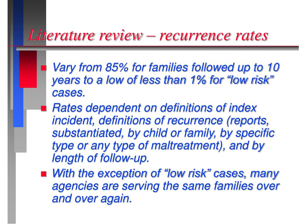 Literature review – recurrence rates