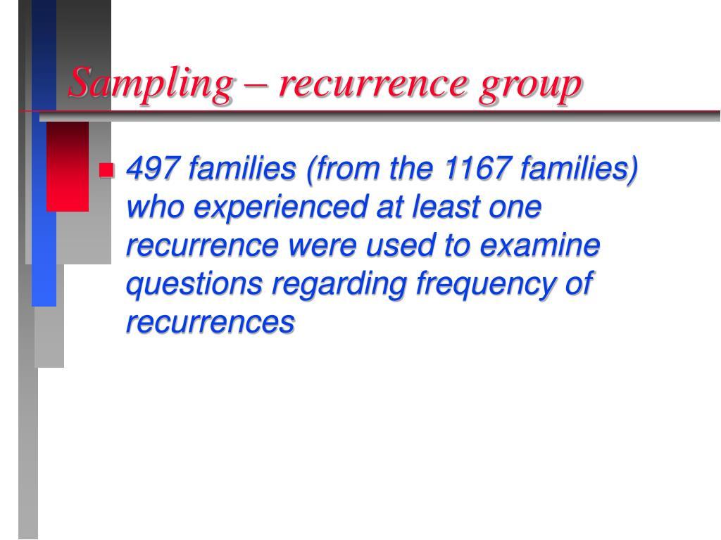 Sampling – recurrence group