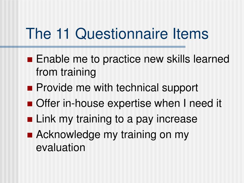 The 11 Questionnaire Items