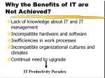why the benefits of it are not achieved