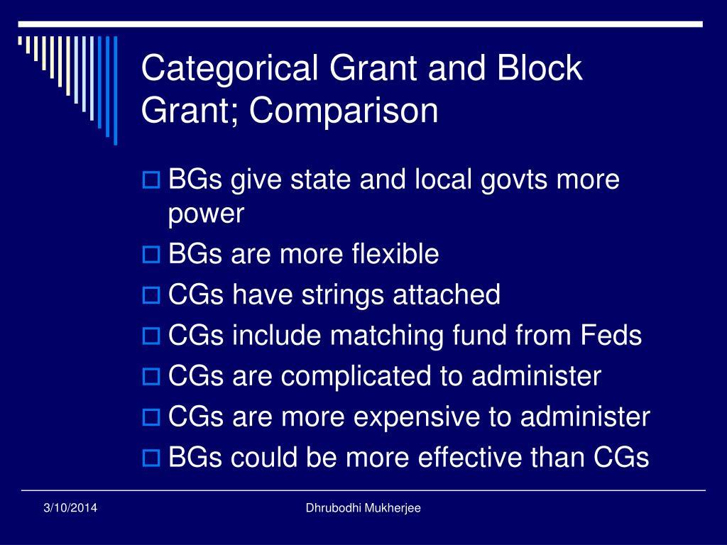 Categorical Grant and Block Grant; Comparison