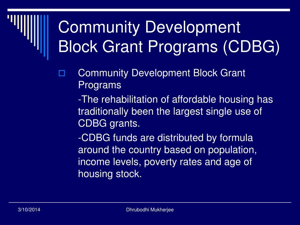 Community Development Block Grant Programs (CDBG)