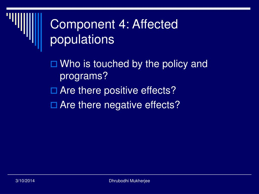 Component 4: Affected populations