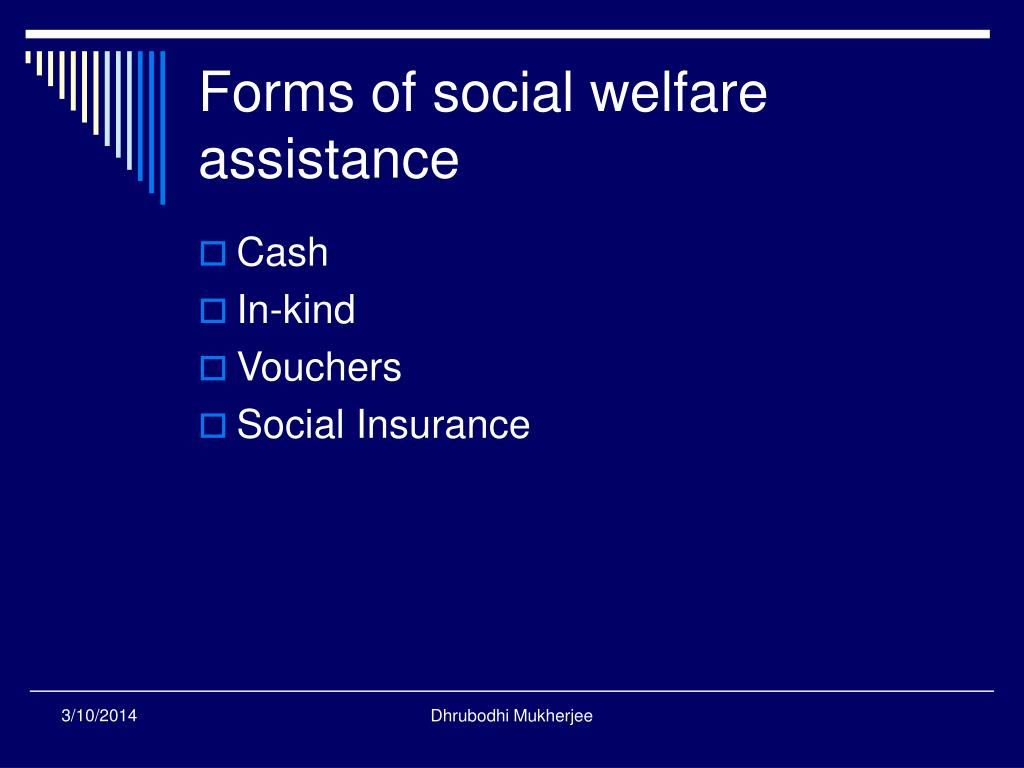 Forms of social welfare assistance