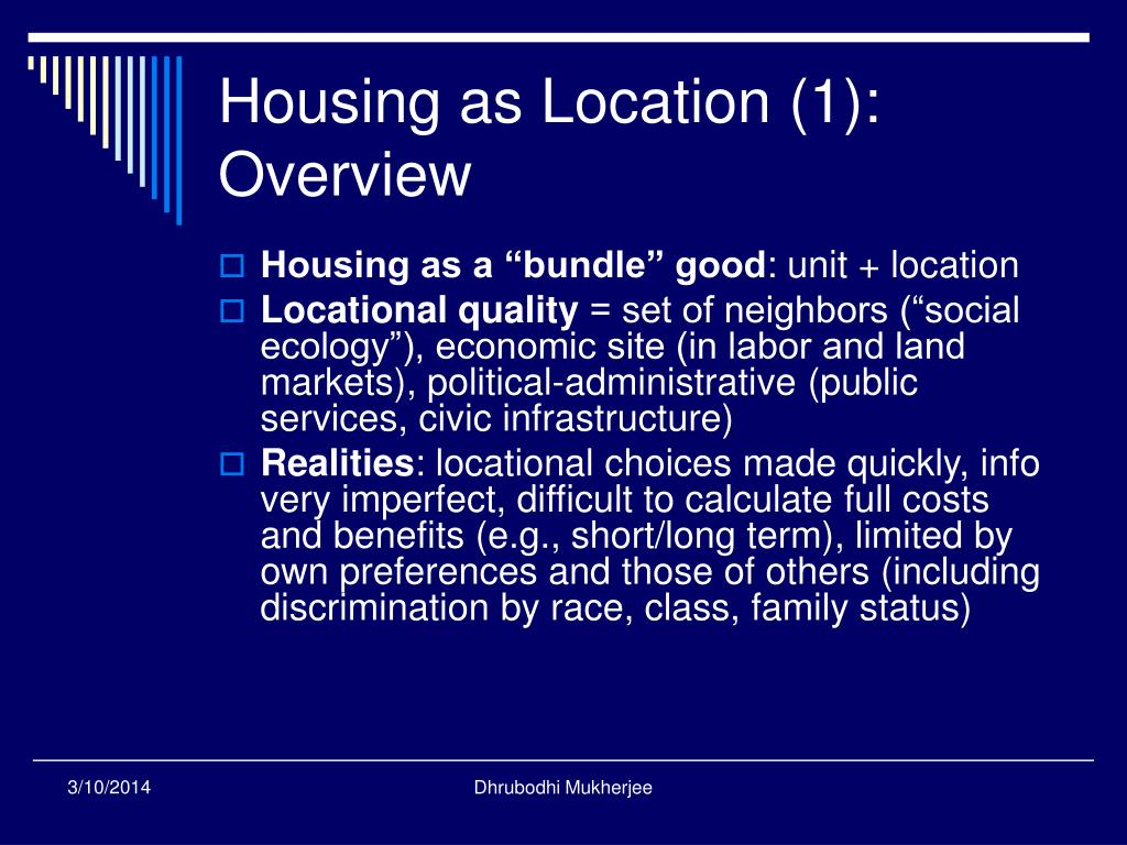 Housing as Location (1):