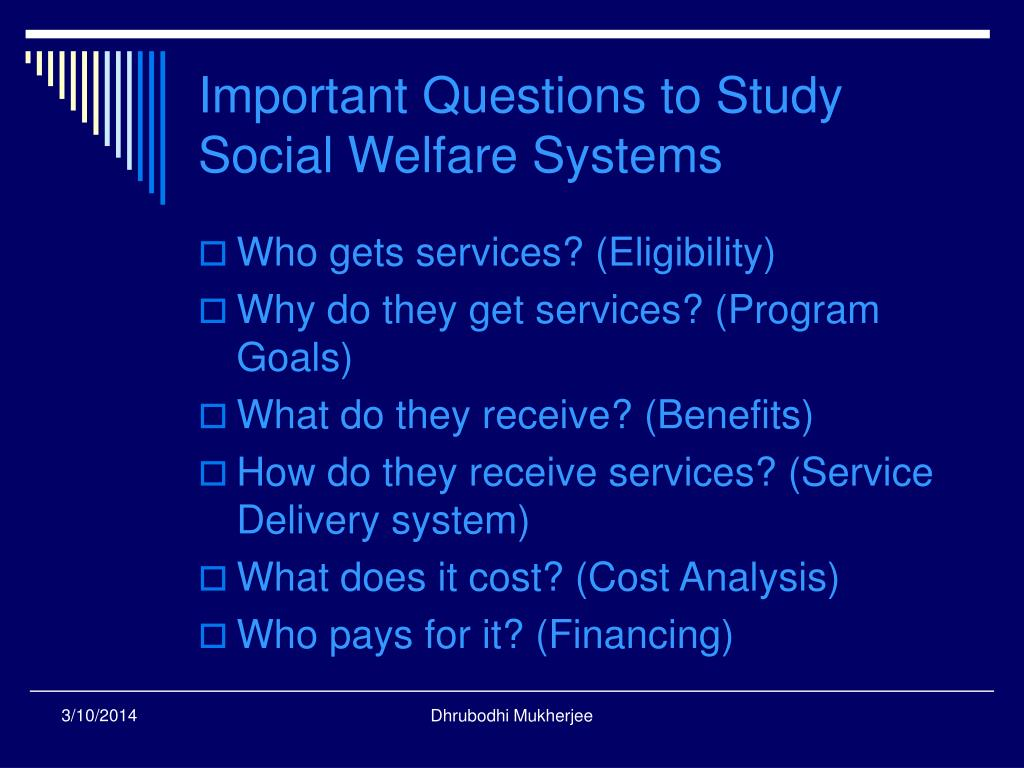 Important Questions to Study Social Welfare Systems