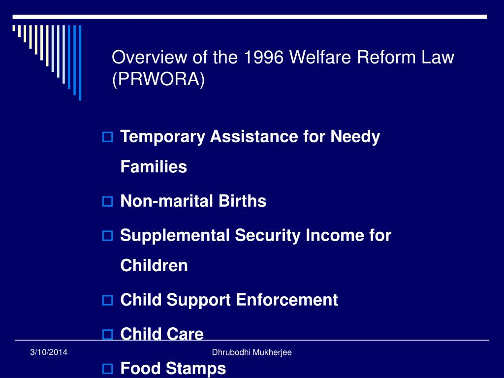 Overview of the 1996 Welfare Reform Law (PRWORA)