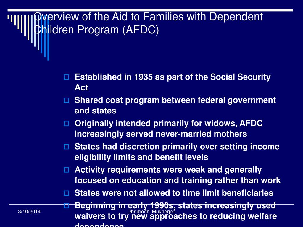 Overview of the Aid to Families with Dependent Children Program (AFDC)