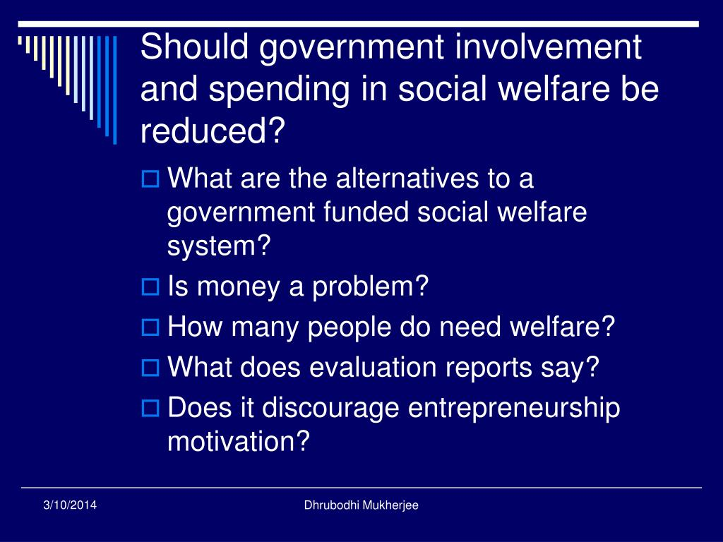 Should government involvement and spending in social welfare be reduced?