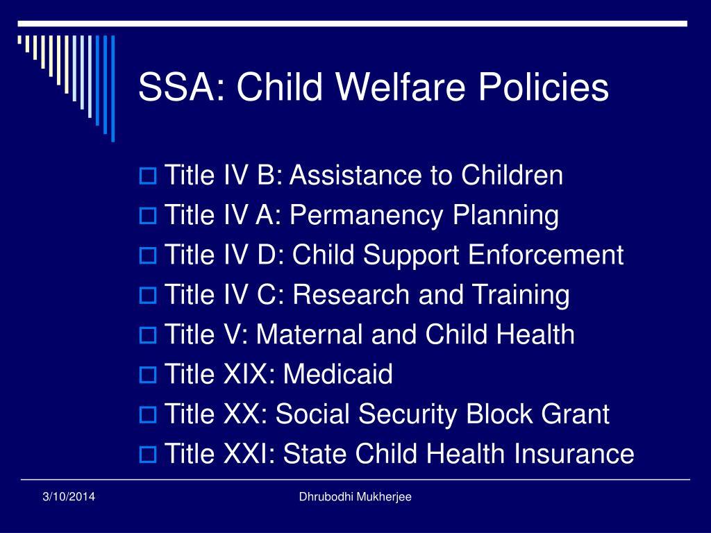 SSA: Child Welfare Policies