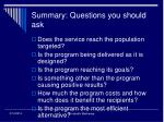 summary questions you should ask59