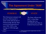 the agreement under tanf