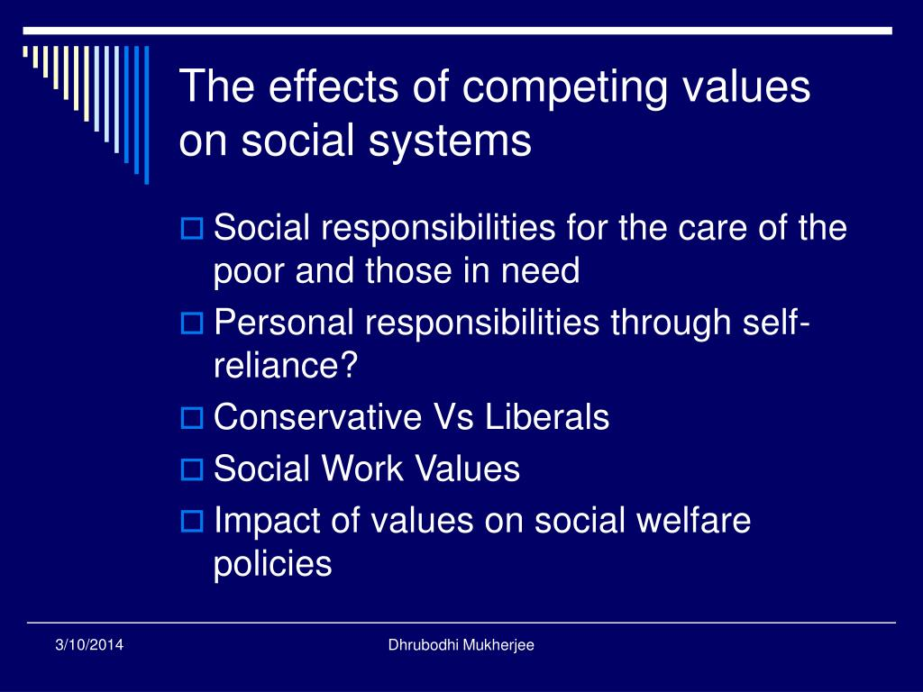 The effects of competing values on social systems