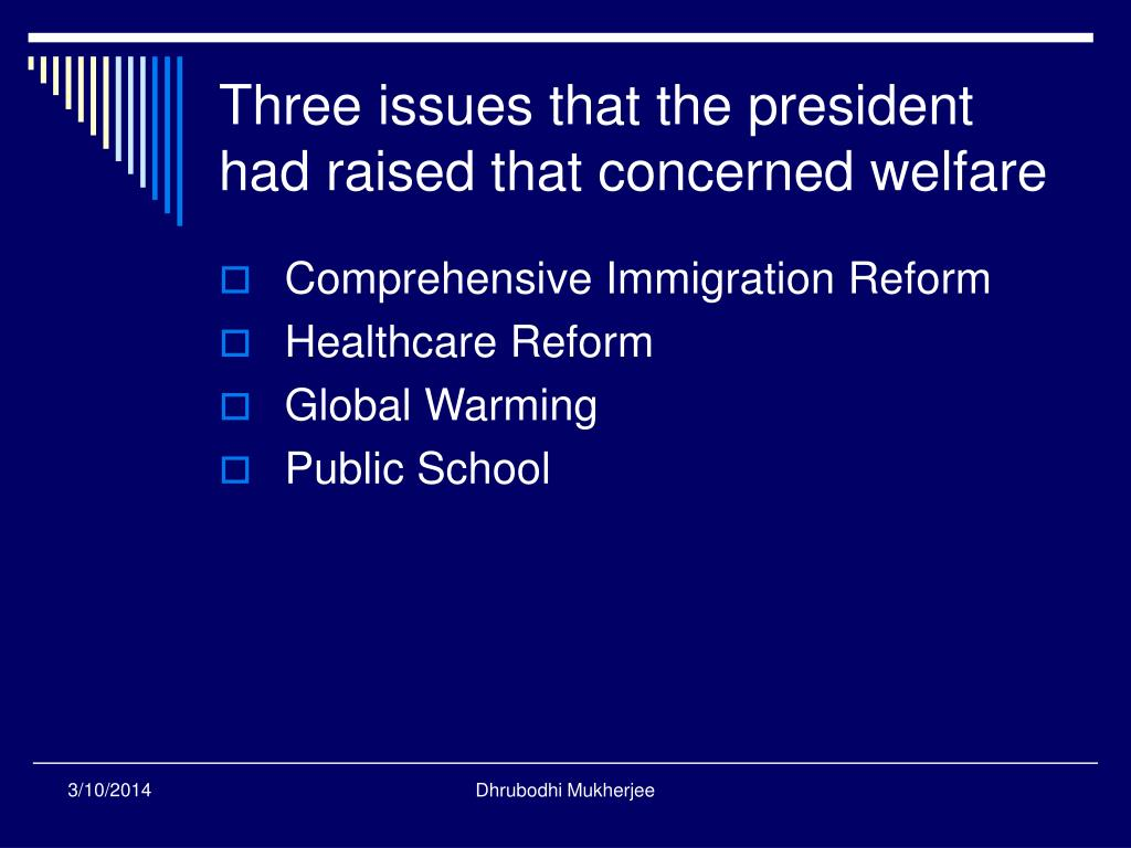Three issues that the president had raised that concerned welfare