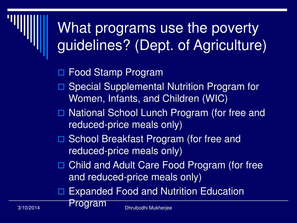 What programs use the poverty guidelines? (Dept. of Agriculture)