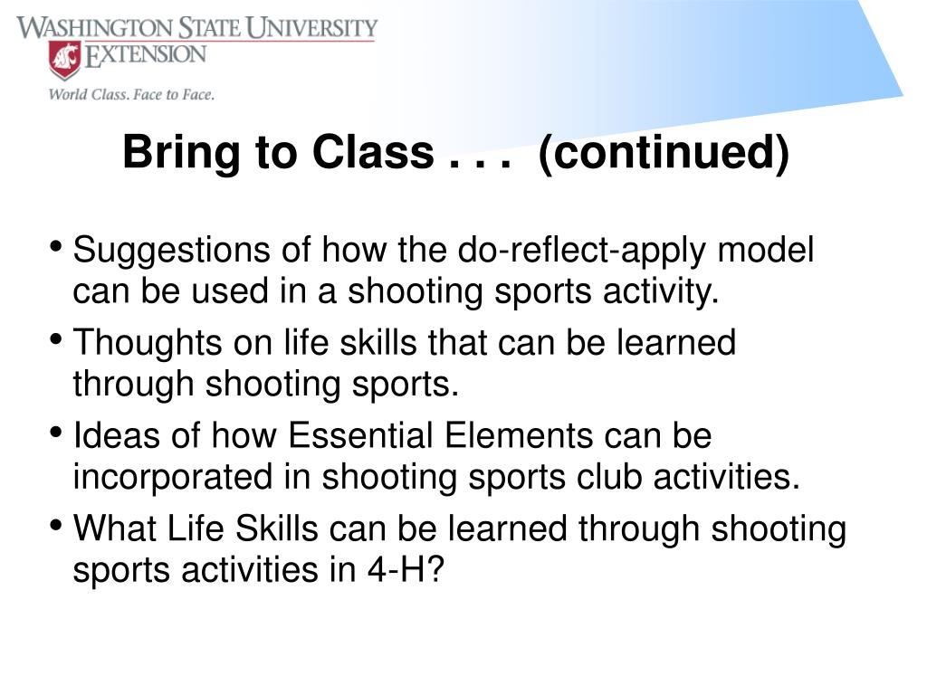 Suggestions of how the do-reflect-apply model can be used in a shooting sports activity.