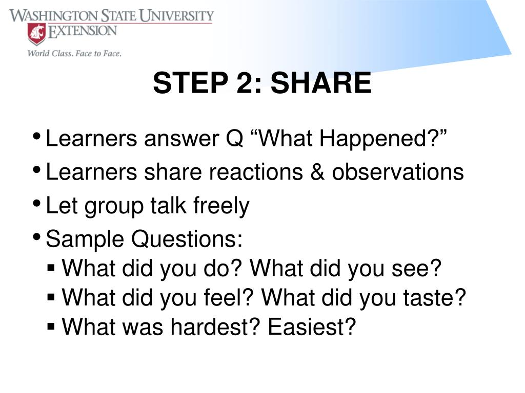 "Learners answer Q ""What Happened?"""