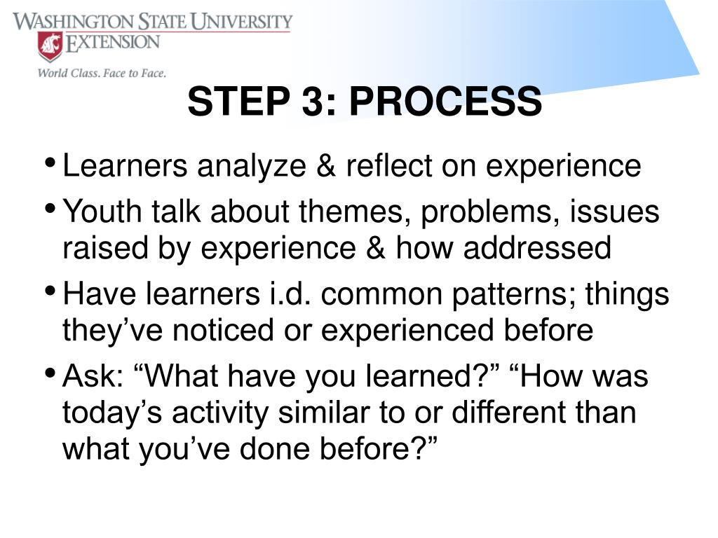 Learners analyze & reflect on experience